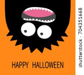 happy halloween card. monster... | Shutterstock .eps vector #704351668
