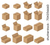 set of different cardboard... | Shutterstock . vector #704356660