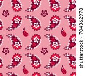 pink and red  paisley seamless... | Shutterstock .eps vector #704362978