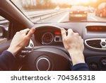traffic jam  driving car on... | Shutterstock . vector #704365318
