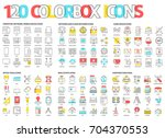 color box icons  llustrations ... | Shutterstock .eps vector #704370553