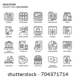 education  square icon set. the ... | Shutterstock .eps vector #704371714