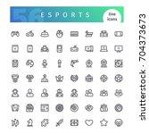 set of 56 cyber sports line...   Shutterstock .eps vector #704373673