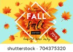 autumn sale flyer template with ... | Shutterstock .eps vector #704375320