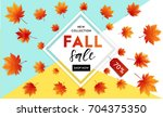autumn sale flyer template with ... | Shutterstock .eps vector #704375350