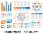Set of most useful infographic elements - bar graphs, human infographics, pie charts, steps and options, workflow, percents, circle diagrams, timeline, vector eps10 illustration | Shutterstock vector #704383594