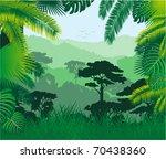 vector tropical rainforest | Shutterstock .eps vector #70438360