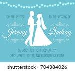 wedding invitation with... | Shutterstock .eps vector #704384026