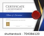 luxury certificate template... | Shutterstock .eps vector #704386120