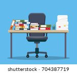 busy cluttered office table.... | Shutterstock .eps vector #704387719