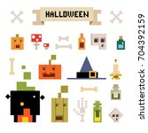set of elements for halloween... | Shutterstock .eps vector #704392159
