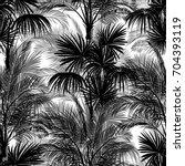 seamless monochrome tropical... | Shutterstock .eps vector #704393119