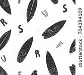 surf boards seamless pattern... | Shutterstock .eps vector #704394109