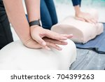Nursing students are learning how to rescue the patient in emergency. CPR training with CPR doll. Closed-up. Soft focus.