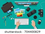 workspace of photographer.... | Shutterstock .eps vector #704400829