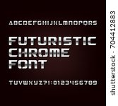 futuristic chrome alphabet font.... | Shutterstock .eps vector #704412883