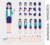 flat vector woman character for ... | Shutterstock .eps vector #704413573