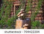 Wooden Mushrooms Sculpture On...