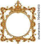 round photo frame metal gold... | Shutterstock .eps vector #704425453