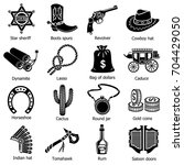 wild west icons set. simple... | Shutterstock .eps vector #704429050