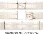 Set Of Wooden Fence Isolated On ...