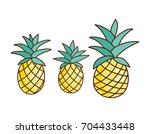 tropical ananas pineapple fruit ... | Shutterstock .eps vector #704433448