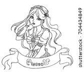 pisces   zodiac hand drawn... | Shutterstock .eps vector #704434849