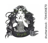 virgo   zodiac hand drawn... | Shutterstock . vector #704434870