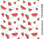 watermelon slices tropical... | Shutterstock .eps vector #704435488