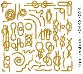 big set of nautical rope knots... | Shutterstock .eps vector #704437024