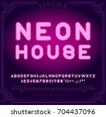 bright neon alphabet letters ... | Shutterstock .eps vector #704437096