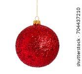 christmas red bauble   ball... | Shutterstock . vector #704437210