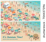 crowded tropical beach resort... | Shutterstock .eps vector #704437396