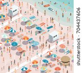 crowded colorful beach with... | Shutterstock .eps vector #704437606