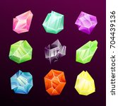 colorful glossy gems set.... | Shutterstock .eps vector #704439136