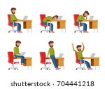 a bearded man in casual clothes ... | Shutterstock .eps vector #704441218