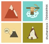assembly flat icons mountains... | Shutterstock .eps vector #704444944