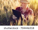 smart farming  using modern...   Shutterstock . vector #704446318