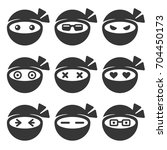 ninja face icons set | Shutterstock . vector #704450173