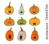 pumpkins with spooky faces for... | Shutterstock .eps vector #704453704