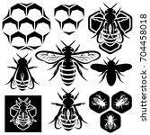set of monochrome honey emblems ... | Shutterstock . vector #704458018