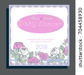 baby shower invitation with... | Shutterstock .eps vector #704458930