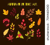 autumn set of elements in the... | Shutterstock .eps vector #704460430