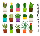 set of cactus houseplants in... | Shutterstock .eps vector #704461690