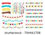 multicolor vector garlands ... | Shutterstock .eps vector #704461708