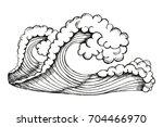 sea waves with foam vector.... | Shutterstock .eps vector #704466970