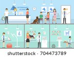 vet clinic set. interiors of... | Shutterstock .eps vector #704473789