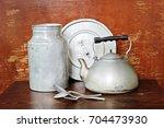 vintage cooking battery   Shutterstock . vector #704473930