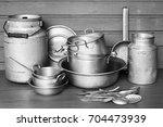 vintage aluminum dish. black...   Shutterstock . vector #704473939
