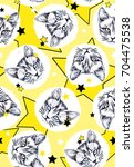 Stock photo seamless hand drawn allover pattern with cat face in black and white kittens with stars 704475538
